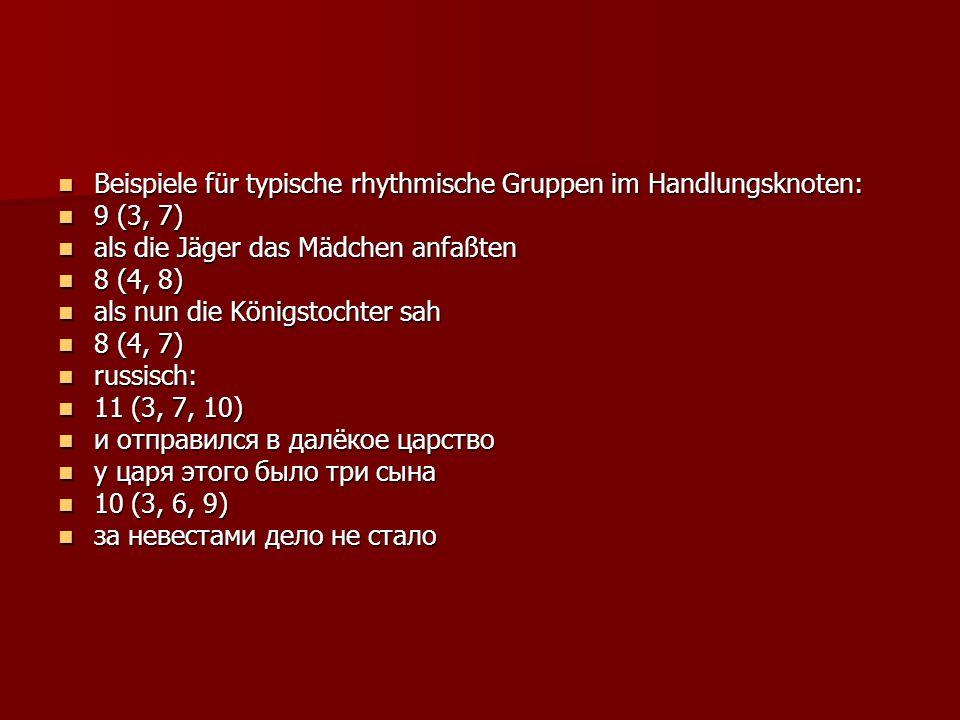 Beispiele für typische rhythmische Gruppen im Handlungsknoten: Beispiele für typische rhythmische Gruppen im Handlungsknoten: 9 (3, 7) 9 (3, 7) als die Jäger das Mädchen anfaßten als die Jäger das Mädchen anfaßten 8 (4, 8) 8 (4, 8) als nun die Königstochter sah als nun die Königstochter sah 8 (4, 7) 8 (4, 7) russisch: russisch: 11 (3, 7, 10) 11 (3, 7, 10) и отправился в далёкое царство и отправился в далёкое царство у царя этого было три сына у царя этого было три сына 10 (3, 6, 9) 10 (3, 6, 9) за невестами дело не стало за невестами дело не стало