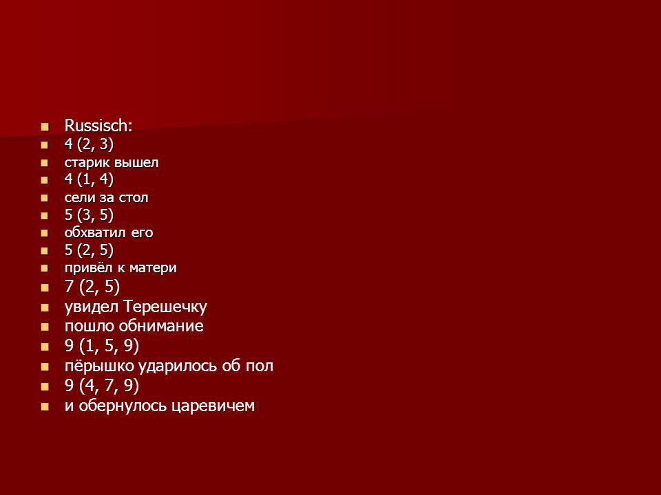 Russisch: Russisch: 4 (2, 3) 4 (2, 3) старик вышел старик вышел 4 (1, 4) 4 (1, 4) сели за стол сели за стол 5 (3, 5) 5 (3, 5) обхватил его обхватил его 5 (2, 5) 5 (2, 5) привёл к матери привёл к матери 7 (2, 5) увидел Терешечку пошло обнимание 9 (1, 5, 9) пёрышко ударилось об пол 9 (4, 7, 9) и обернулось царевичем