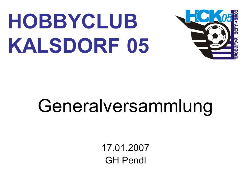 HOBBYCLUB KALSDORF 05 Generalversammlung 17.01.2007 GH Pendl