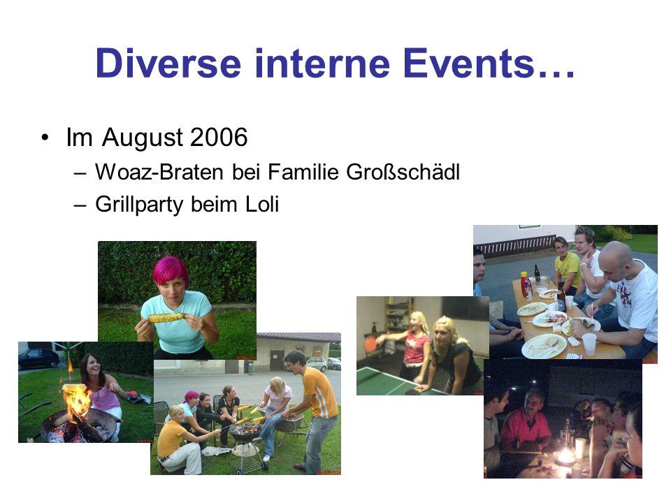 Diverse interne Events… Im August 2006 –Woaz-Braten bei Familie Großschädl –Grillparty beim Loli