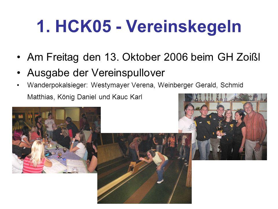 1. HCK05 - Vereinskegeln Am Freitag den 13.