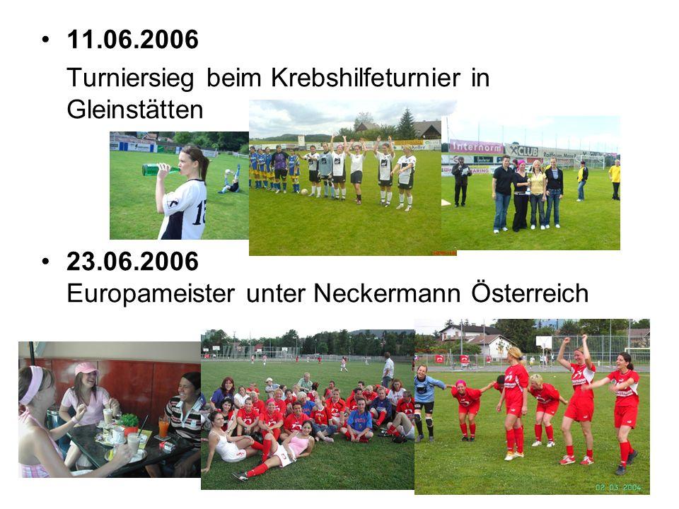 11.06.2006 Turniersieg beim Krebshilfeturnier in Gleinstätten 23.06.2006 Europameister unter Neckermann Österreich