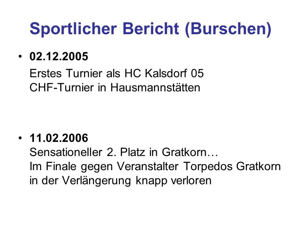Sportlicher Bericht (Burschen) 02.12.2005 Erstes Turnier als HC Kalsdorf 05 CHF-Turnier in Hausmannstätten 11.02.2006 Sensationeller 2.