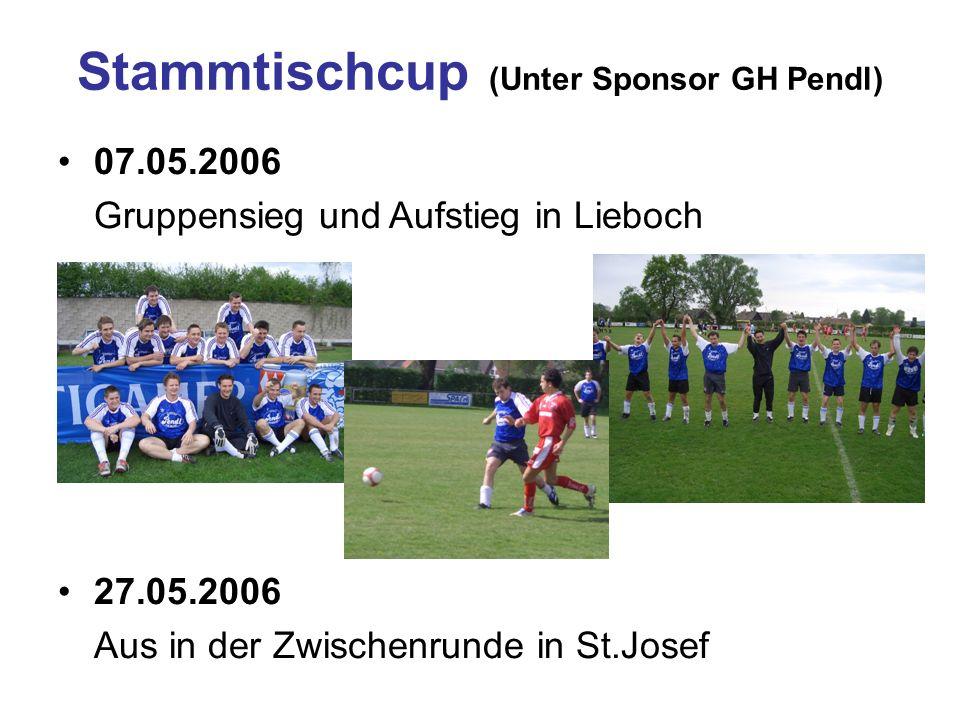07.05.2006 Gruppensieg und Aufstieg in Lieboch 27.05.2006 Aus in der Zwischenrunde in St.Josef Stammtischcup (Unter Sponsor GH Pendl)