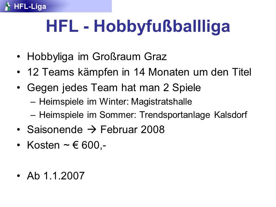 HFL - Hobbyfußballliga Hobbyliga im Großraum Graz 12 Teams kämpfen in 14 Monaten um den Titel Gegen jedes Team hat man 2 Spiele –Heimspiele im Winter: Magistratshalle –Heimspiele im Sommer: Trendsportanlage Kalsdorf Saisonende Februar 2008 Kosten ~ 600,- Ab 1.1.2007