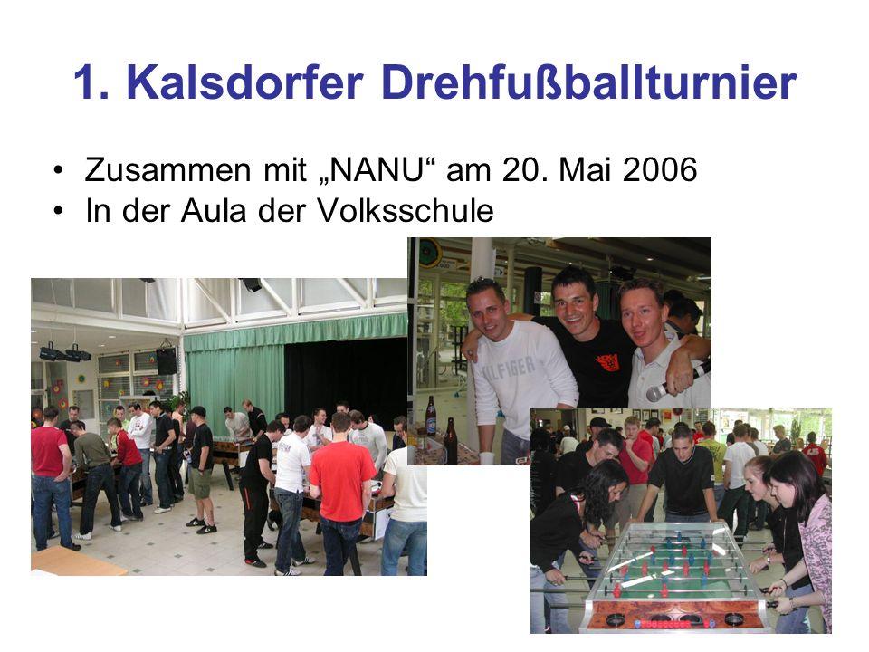 1. Kalsdorfer Drehfußballturnier Zusammen mit NANU am 20. Mai 2006 In der Aula der Volksschule