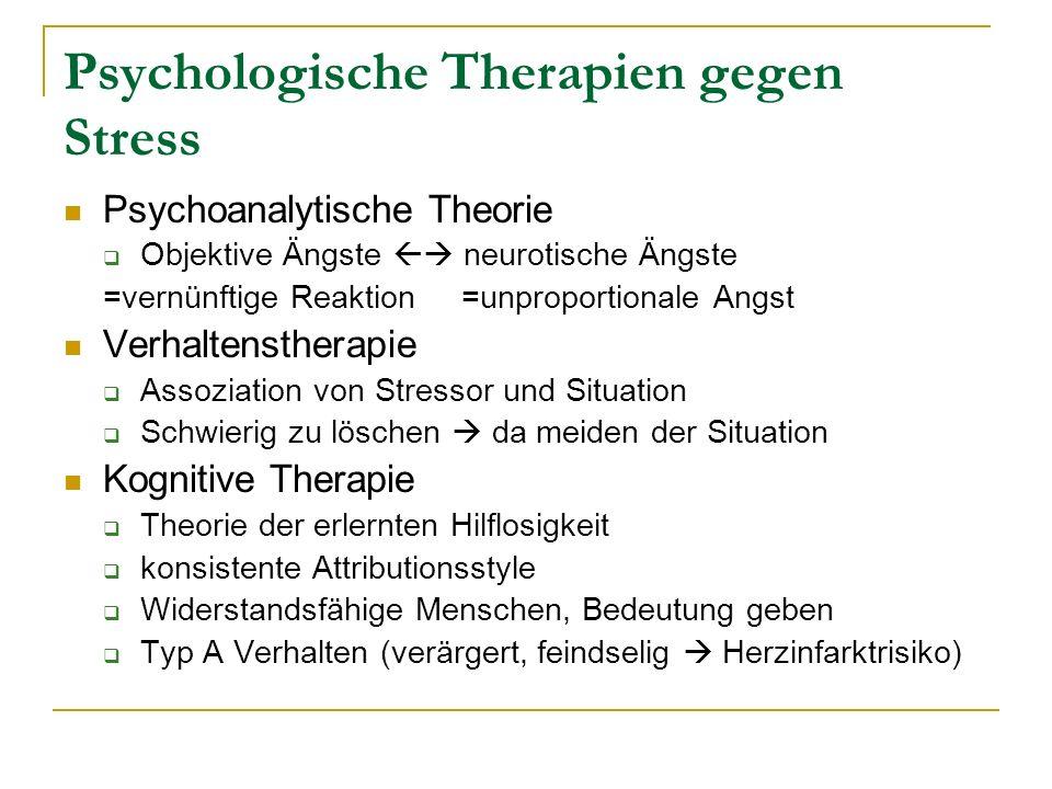 Psychologische Therapien gegen Stress Psychoanalytische Theorie Objektive Ängste neurotische Ängste =vernünftige Reaktion =unproportionale Angst Verha