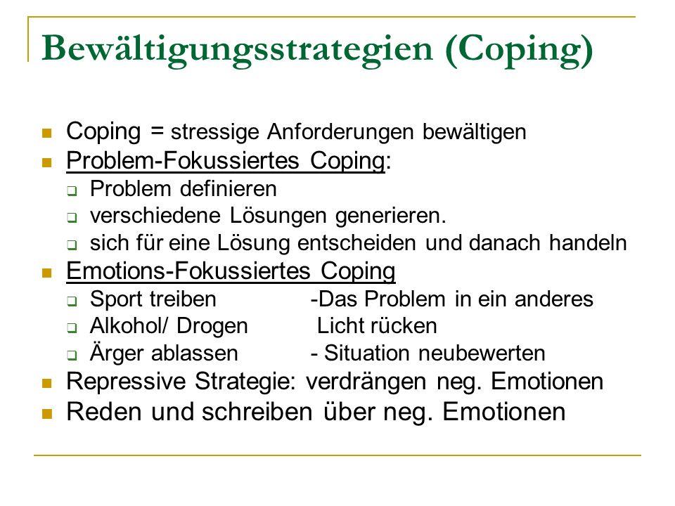 Bewältigungsstrategien (Coping) Coping = stressige Anforderungen bewältigen Problem-Fokussiertes Coping: Problem definieren verschiedene Lösungen gene