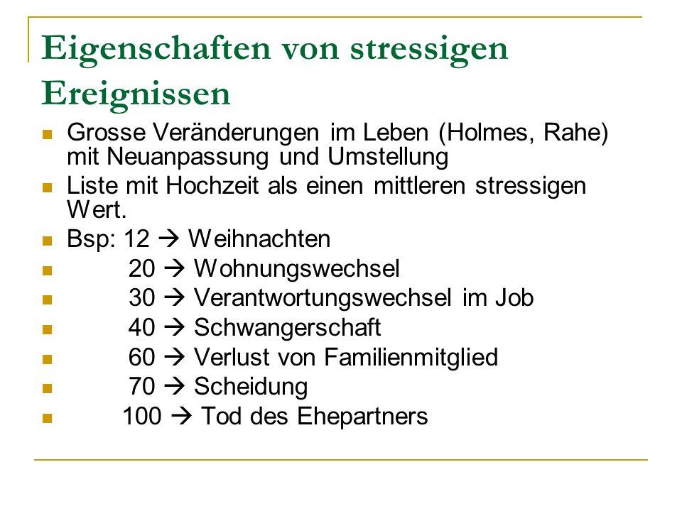 Eigenschaften von stressigen Ereignissen Grosse Veränderungen im Leben (Holmes, Rahe) mit Neuanpassung und Umstellung Liste mit Hochzeit als einen mit