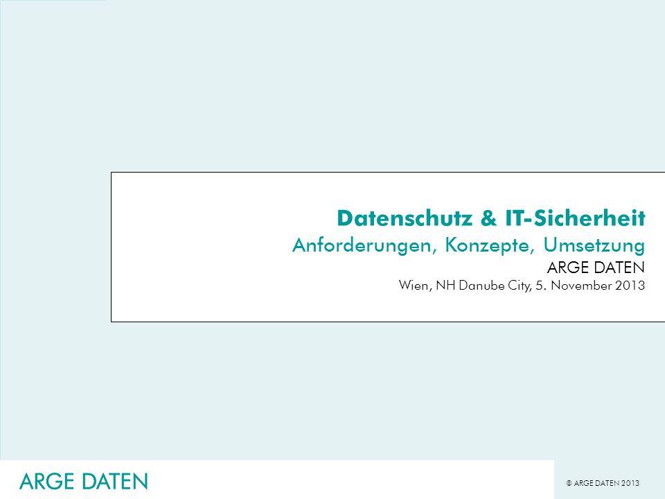 © ARGE DATEN 2013 ARGE DATEN Datenschutz bei Authentisierungsmechanismen (Stellungnahme WP 68 29.1.2003) Online-Authentifizierungssysteme - lokal (PC-orientiert) -dezentrale (Proxy-orientiert) -zentrale Authentisierungen (Microsoft) -vernetzte (Web-of-Trust) gegenwärtig werden fast nur zentrale Authentiserungsmodelle diskutiert Datenschutz und Authentisierung