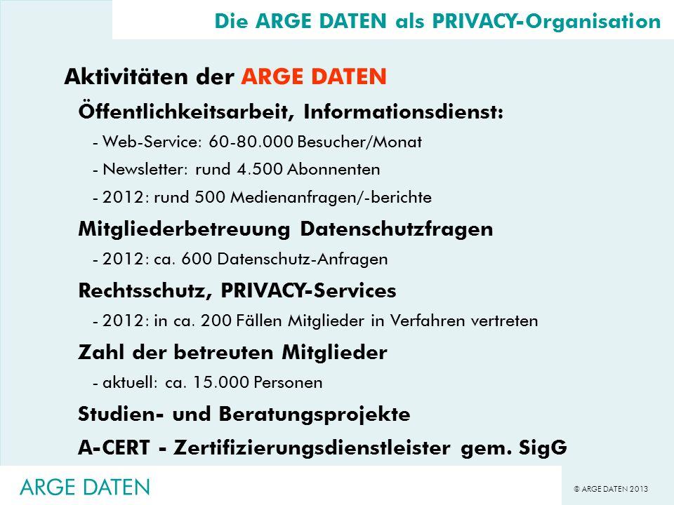 © ARGE DATEN 2013 ARGE DATEN Sicherheitsanforderungen Portalverbund -durch vier Komponenten definiert - Authentifizierung - Identifizierung - IT-Grundschutz/Sicherheitskonzept - Personelle Maßnahmen (Schulung/Verpflichtung) -Art der Authentifizierung des Anwenders geheimes Wissen (Passwort), Besitz, Biometrie -Art der Identifizierung des Anwenders Identifizierung mit Ausweis, ZMR-Abfrage des Anwenders,...