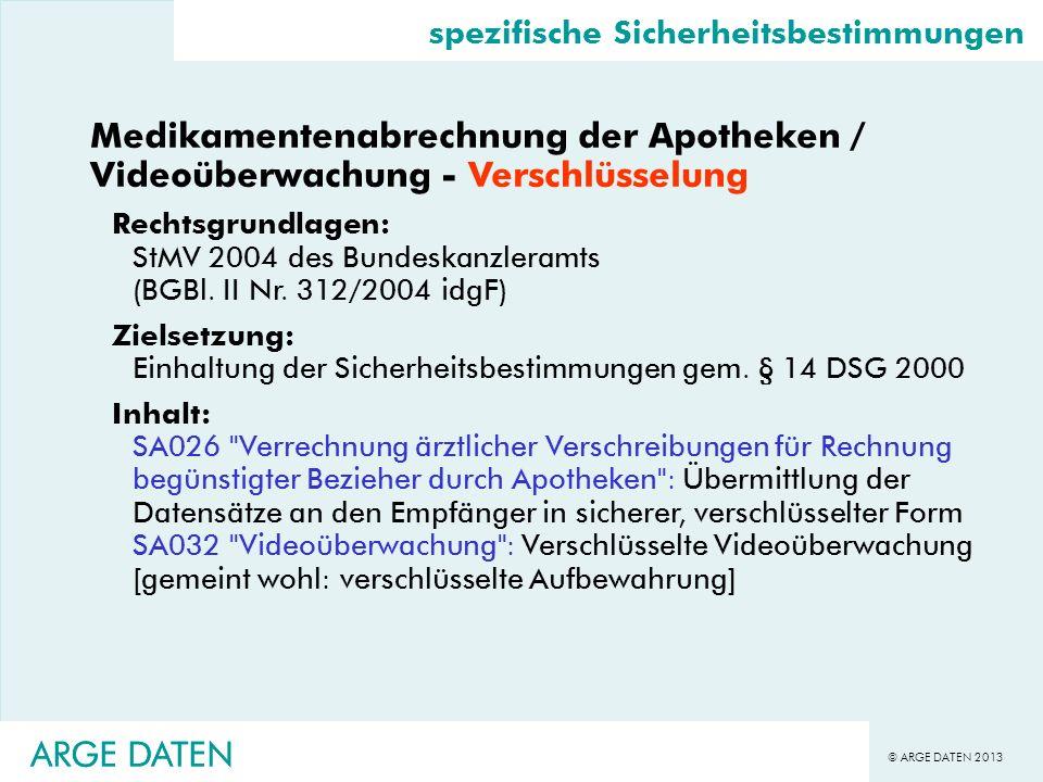 © ARGE DATEN 2013 ARGE DATEN Medikamentenabrechnung der Apotheken / Videoüberwachung - Verschlüsselung Rechtsgrundlagen: StMV 2004 des Bundeskanzleram
