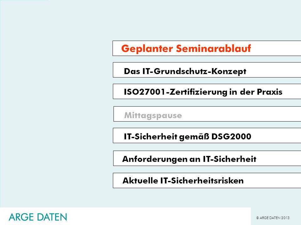 © ARGE DATEN 2013 ARGE DATEN Das IT-Grundschutz-Konzept ISO27001-Zertifizierung in der Praxis Mittagspause IT-Sicherheit gemäß DSG2000 Geplanter Semin