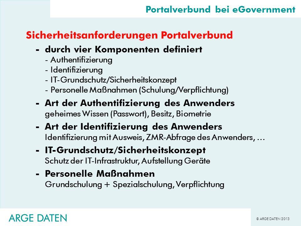 © ARGE DATEN 2013 ARGE DATEN Sicherheitsanforderungen Portalverbund -durch vier Komponenten definiert - Authentifizierung - Identifizierung - IT-Grund