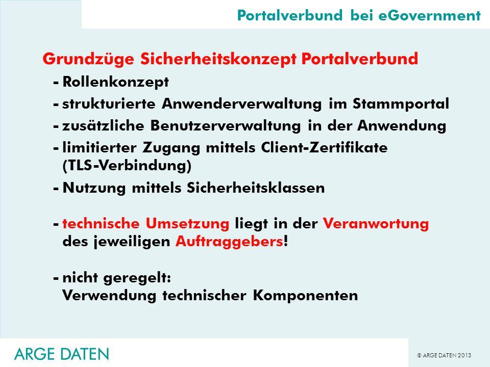 © ARGE DATEN 2013 ARGE DATEN Grundzüge Sicherheitskonzept Portalverbund -Rollenkonzept -strukturierte Anwenderverwaltung im Stammportal -zusätzliche B