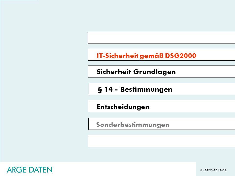 © ARGE DATEN 2013 ARGE DATEN Umsetzung Sicherheitsanforderungen Welche Vorteile hat eine Zertifizierung.