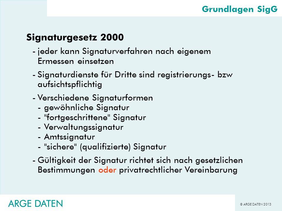 © ARGE DATEN 2013 ARGE DATEN Grundlagen SigG Signaturgesetz 2000 -jeder kann Signaturverfahren nach eigenem Ermessen einsetzen -Signaturdienste für Dr