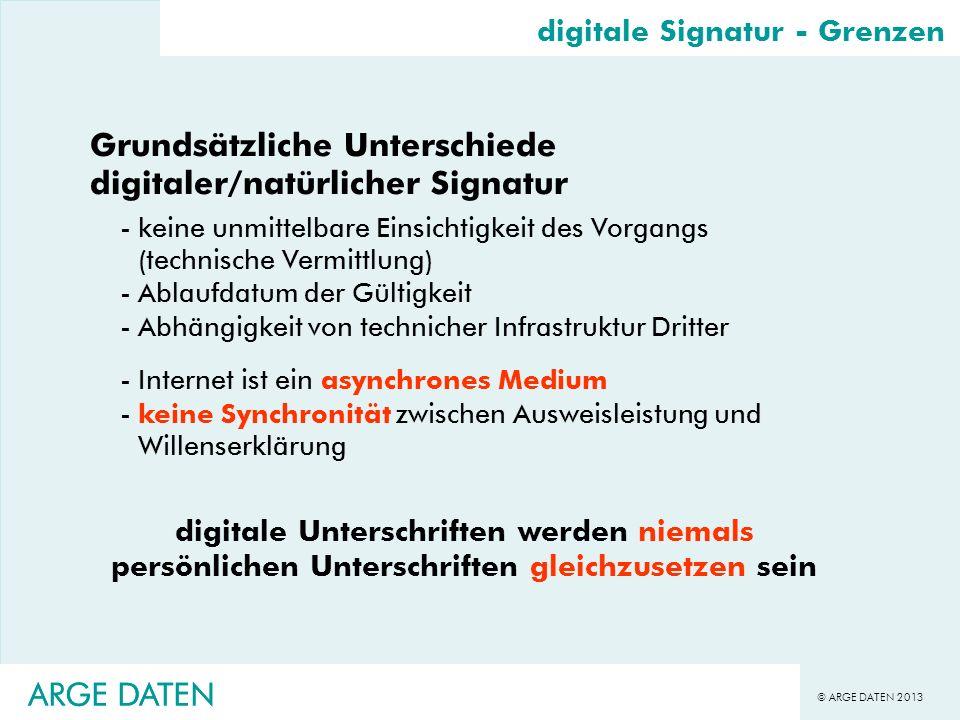 © ARGE DATEN 2013 ARGE DATEN digitale Signatur - Grenzen Grundsätzliche Unterschiede digitaler/natürlicher Signatur -keine unmittelbare Einsichtigkeit