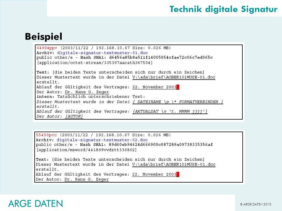 © ARGE DATEN 2013 ARGE DATEN Beispiel Technik digitale Signatur