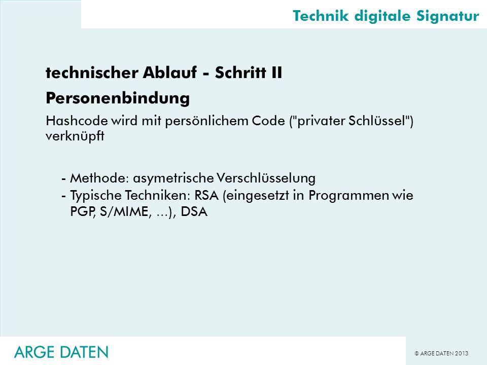 © ARGE DATEN 2013 ARGE DATEN technischer Ablauf - Schritt II Personenbindung Hashcode wird mit persönlichem Code (