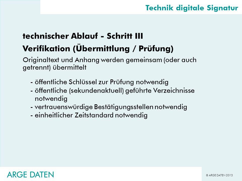 © ARGE DATEN 2013 ARGE DATEN technischer Ablauf - Schritt III Verifikation (Übermittlung / Prüfung) Originaltext und Anhang werden gemeinsam (oder auc