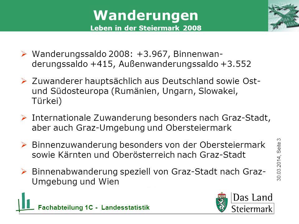 Autor 30.03.2014, Seite 14 Leben in der Steiermark 2008 Fachabteilung 1C - Landesstatistik Geburten Q: Statistik Austria; Bearb.: LASTAT Steiermark * 2009 vorläufige Daten