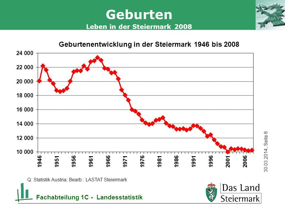 Autor 30.03.2014, Seite 19 Leben in der Steiermark 2008 Fachabteilung 1C - Landesstatistik Sterbefälle