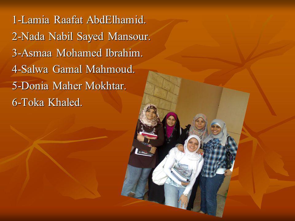1-Lamia Raafat AbdElhamid. 2-Nada Nabil Sayed Mansour. 3-Asmaa Mohamed Ibrahim. 4-Salwa Gamal Mahmoud. 5-Donia Maher Mokhtar. 6-Toka Khaled.