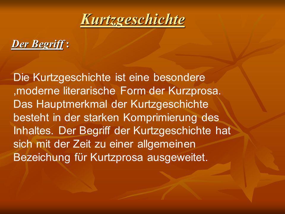 Kurtzgeschichte : Der Begriff Die Kurtzgeschichte ist eine besondere,moderne literarische Form der Kurzprosa. Das Hauptmerkmal der Kurtzgeschichte bes