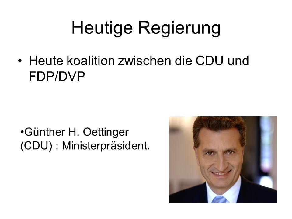 Heutige Regierung Heute koalition zwischen die CDU und FDP/DVP Günther H.