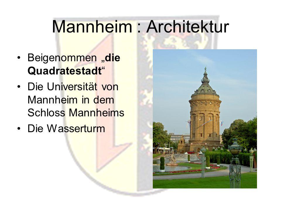 Mannheim : Architektur Beigenommen die Quadratestadt Die Universität von Mannheim in dem Schloss Mannheims Die Wasserturm