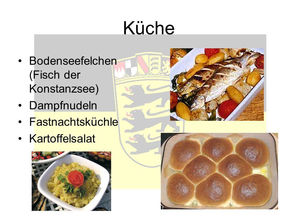 Küche Bodenseefelchen (Fisch der Konstanzsee) Dampfnudeln Fastnachtsküchle Kartoffelsalat
