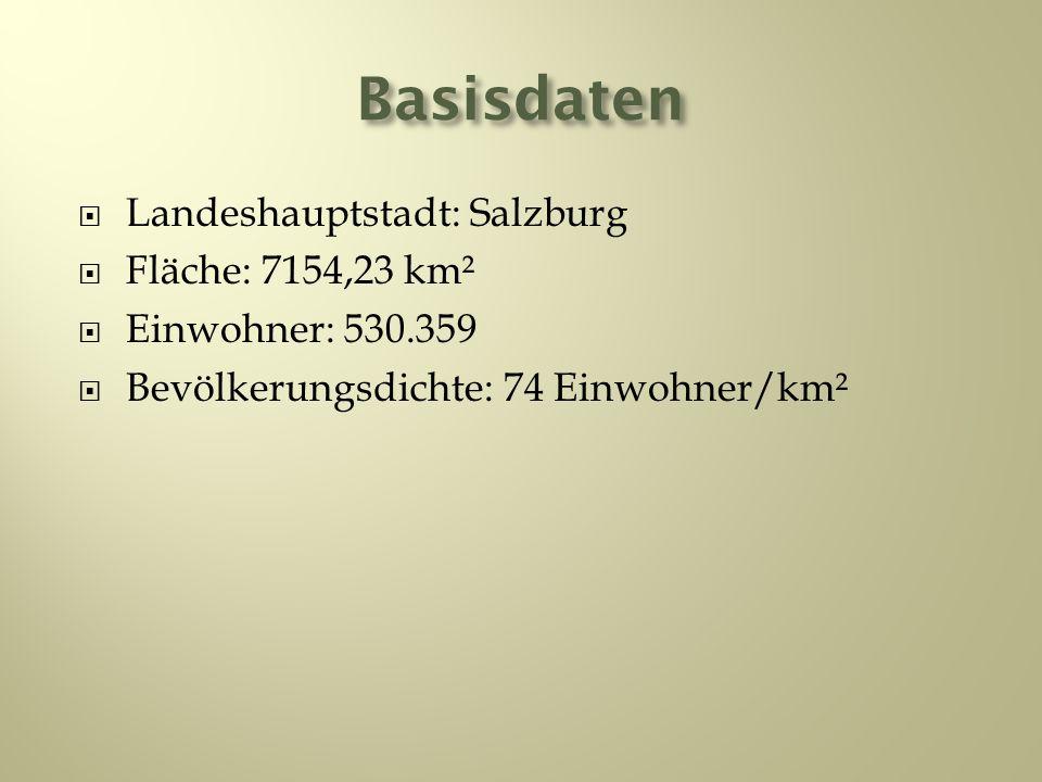 Basisdaten Landeshauptstadt: Salzburg Fläche: 7154,23 km² Einwohner: 530.359 Bevölkerungsdichte: 74 Einwohner/km²