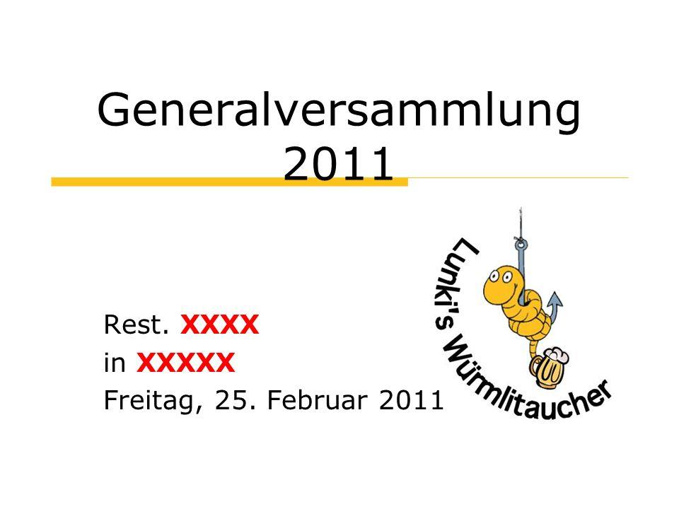 Begrüssung Herzlich Willkommen zur Generalversammlung 2011!
