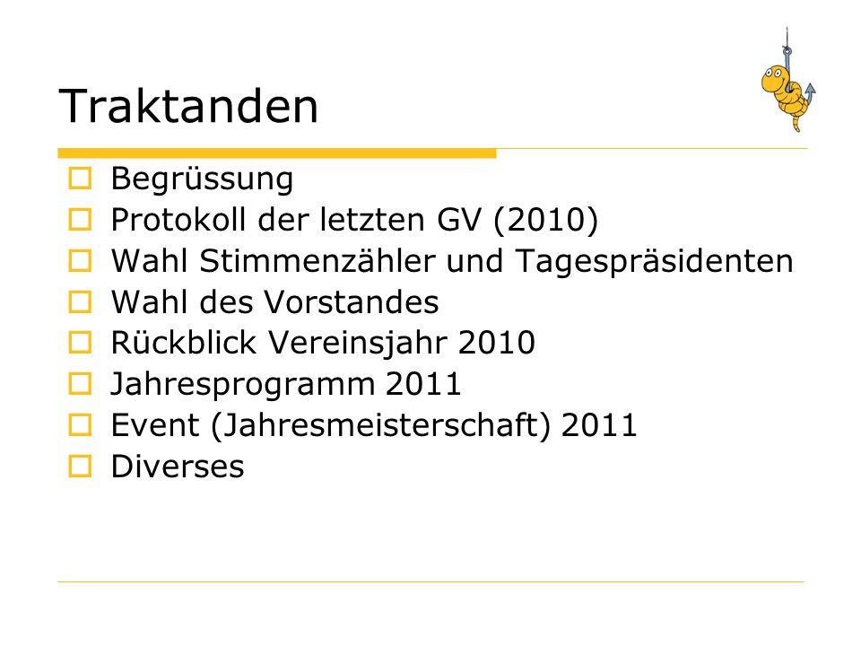 Protokoll der Generalversammlung 2010 Gibts Ergänzungen zum Protokoll ? Protokoll verabschieden