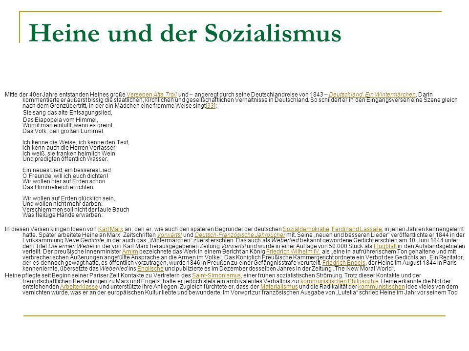 Heine und der Sozialismus Mitte der 40er Jahre entstanden Heines große Versepen Atta Troll und – angeregt durch seine Deutschlandreise von 1843 – Deut
