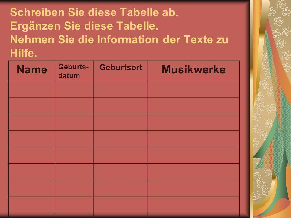 Schreiben Sie diese Tabelle ab. Ergänzen Sie diese Tabelle. Nehmen Sie die Information der Texte zu Hilfe. Name Geburts- datum Geburtsort Musikwerke