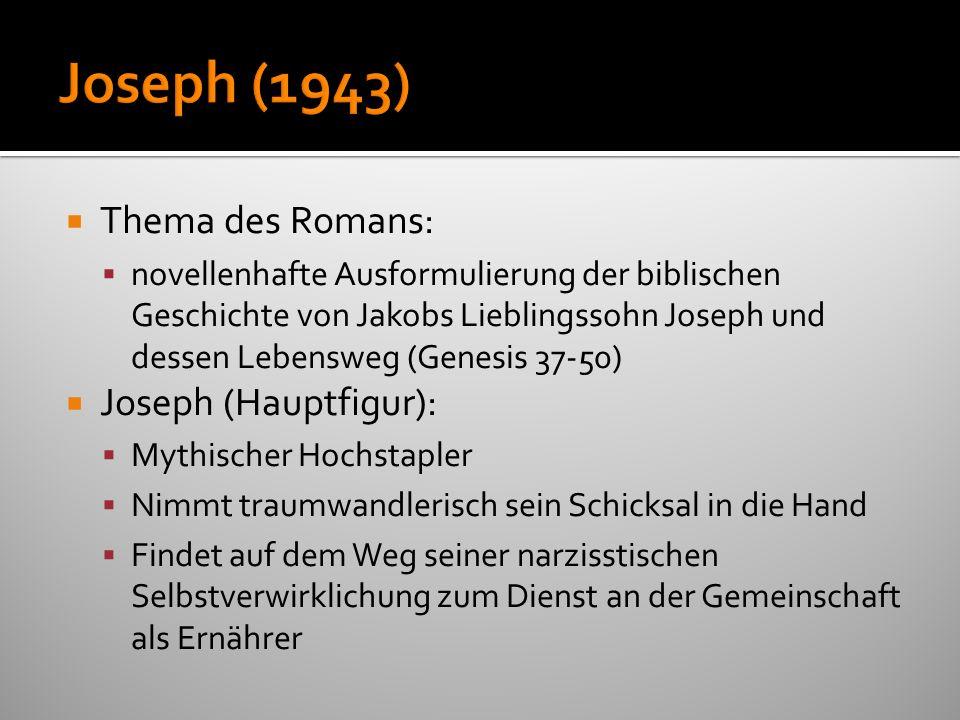 Thema des Romans: novellenhafte Ausformulierung der biblischen Geschichte von Jakobs Lieblingssohn Joseph und dessen Lebensweg (Genesis 37-50) Joseph