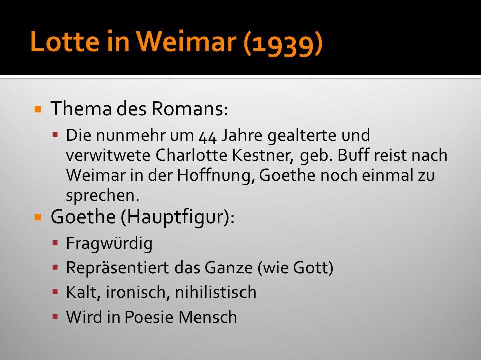 Thema des Romans: Die nunmehr um 44 Jahre gealterte und verwitwete Charlotte Kestner, geb. Buff reist nach Weimar in der Hoffnung, Goethe noch einmal