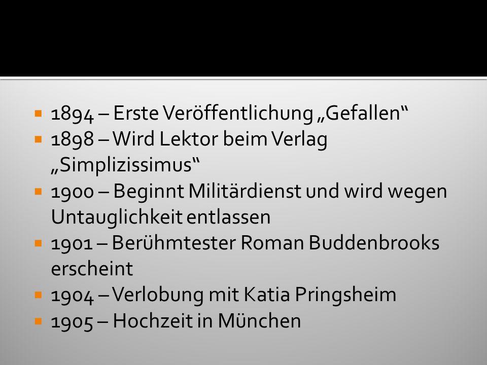 1907 - Uraufführung von Fiorenza in Frankfurt am Main 1910 – Selbstmord der Schwester Carla 1914 – Erstes eigenes Haus in München wird bezogen 1925 – 50.