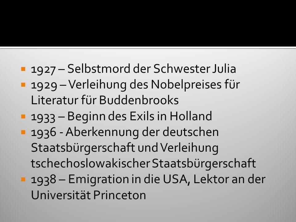 1927 – Selbstmord der Schwester Julia 1929 – Verleihung des Nobelpreises für Literatur für Buddenbrooks 1933 – Beginn des Exils in Holland 1936 - Aber
