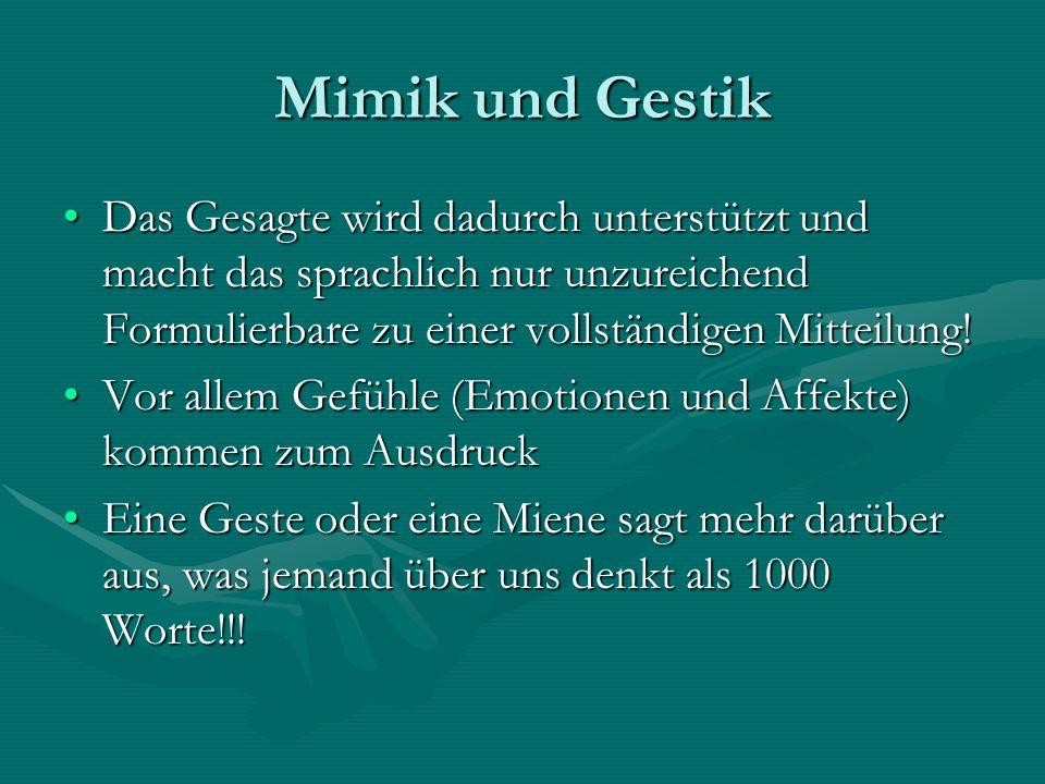 Mimik und Gestik Das Gesagte wird dadurch unterstützt und macht das sprachlich nur unzureichend Formulierbare zu einer vollständigen Mitteilung!Das Ge