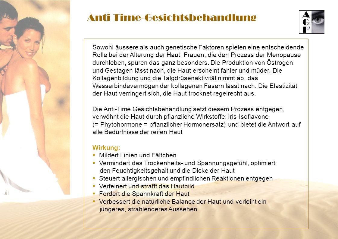 Anti Time-Gesichtsbehandlung Sowohl äussere als auch genetische Faktoren spielen eine entscheidende Rolle bei der Alterung der Haut.
