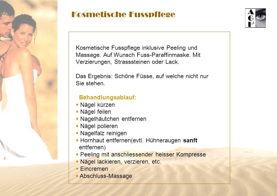 Kosmetische Fusspflege Kosmetische Fusspflege inklusive Peeling und Massage. Auf Wunsch Fuss-Paraffinmaske. Mit Verzierungen, Strasssteinen oder Lack.