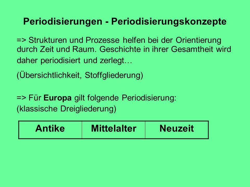 Periodisierungen - Periodisierungskonzepte => Strukturen und Prozesse helfen bei der Orientierung durch Zeit und Raum.