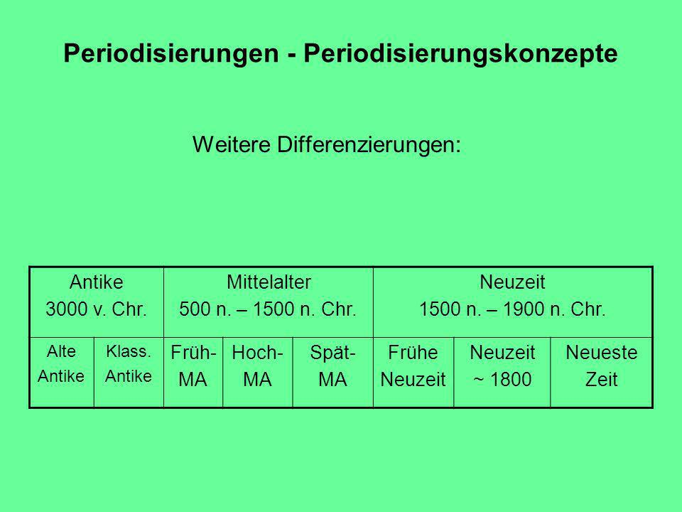 Periodisierungen - Periodisierungskonzepte Weitere Differenzierungen: Antike 3000 v.