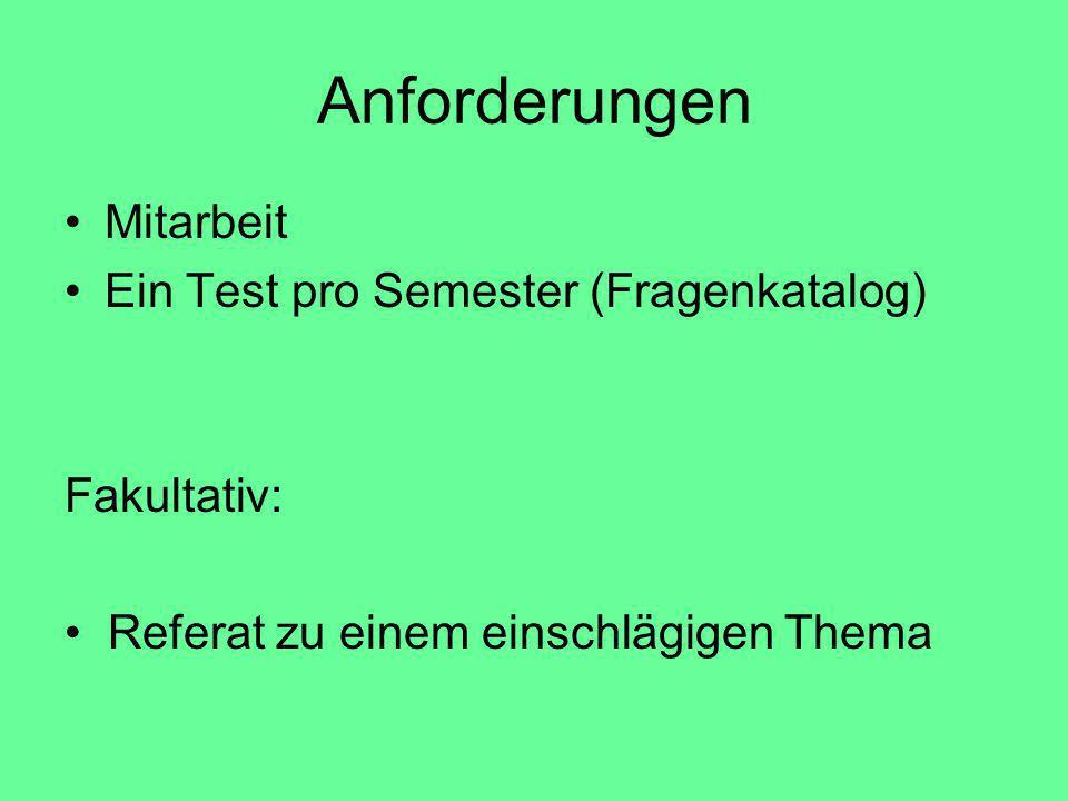 Anforderungen Mitarbeit Ein Test pro Semester (Fragenkatalog) Fakultativ: Referat zu einem einschlägigen Thema