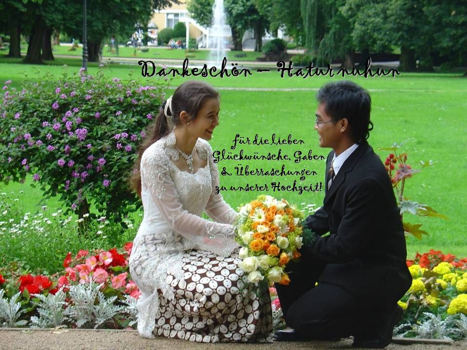 Dankeschön – Hatur nuhun für die lieben Glückwünsche, Gaben & Überraschungen zu unserer Hochzeit!