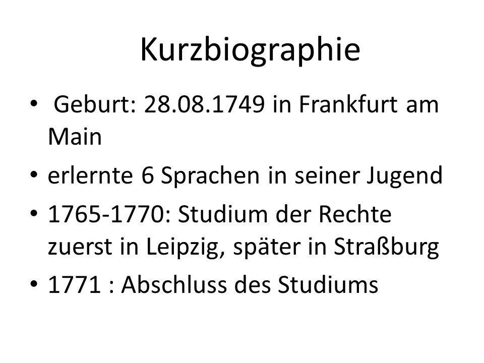 1771-1775: Tätigkeiten als Rechtsanwalt; Besitz einer eigenen Kanzlei 1775-1786: Goethe in Weimar Ende seines jugendlich-ungebundenen Lebens Vertrauter des Erbprinzen und späteren Herzogs von Sachsen-Weimar Geheimer Legationsrat und Mitglied des Geheimen Consiliums Leiter des Liebhabertheaters