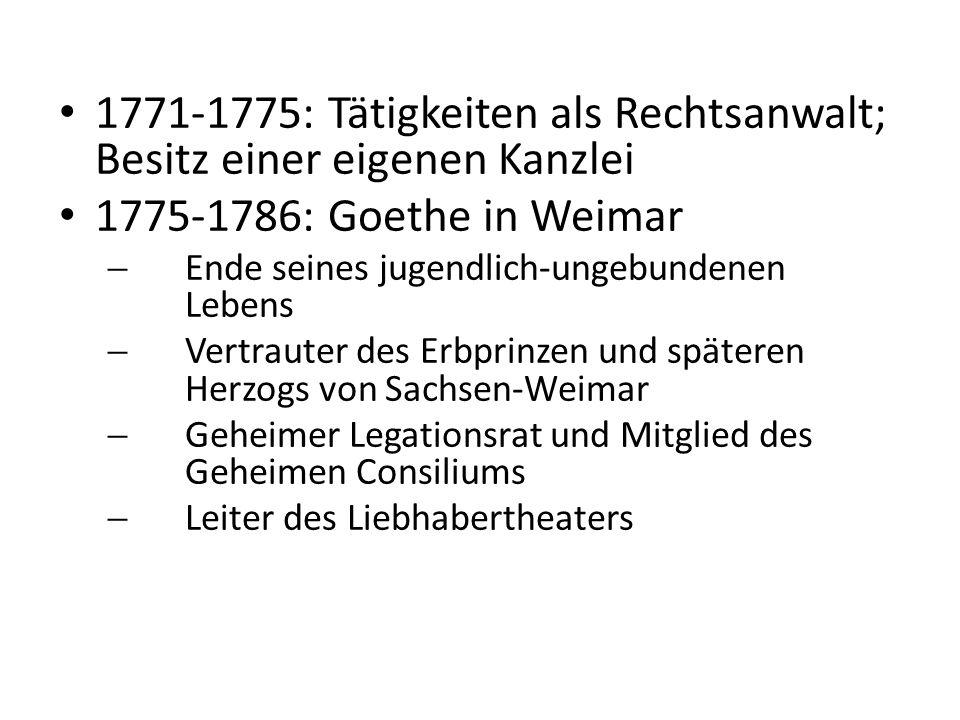 1782: Erhalt des Adelsdiploms 1786-1788: Italienreise 1788-1832: Rückkehr nach und Aufenthalt in Weimar 1791-1817: Leitung des Weimarer Hoftheaters (davon 1796-1805 in Zusammenarbeit mit Schiller)